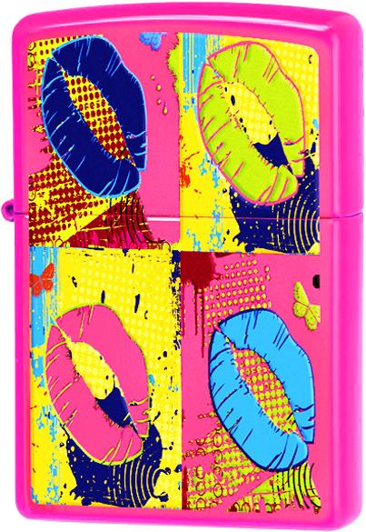 29086 Зажигалка Zippo Multicolored Lips, Neon Pink