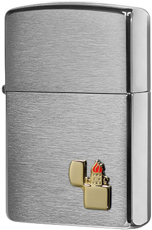 200 Зажигалка Zippo Lighter Emblem, Brushed Chrome (29102)