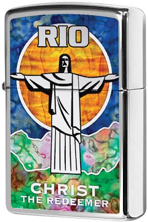 29256 Зажигалка Zippo Rio Christ The Redeemer, Polish Chrome