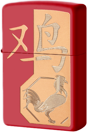 29259 Зажигалка ZIppo Year of the Rooster, Red Matte