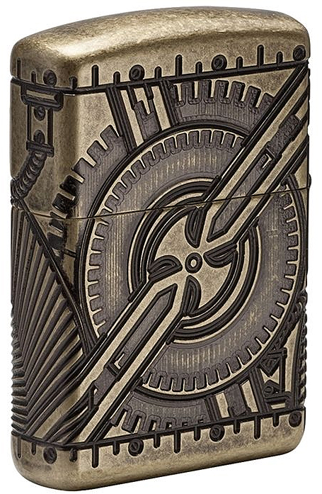 29268 Зажигалка ZIppo Armor Multicut Steampunk Skull, Antique Brass