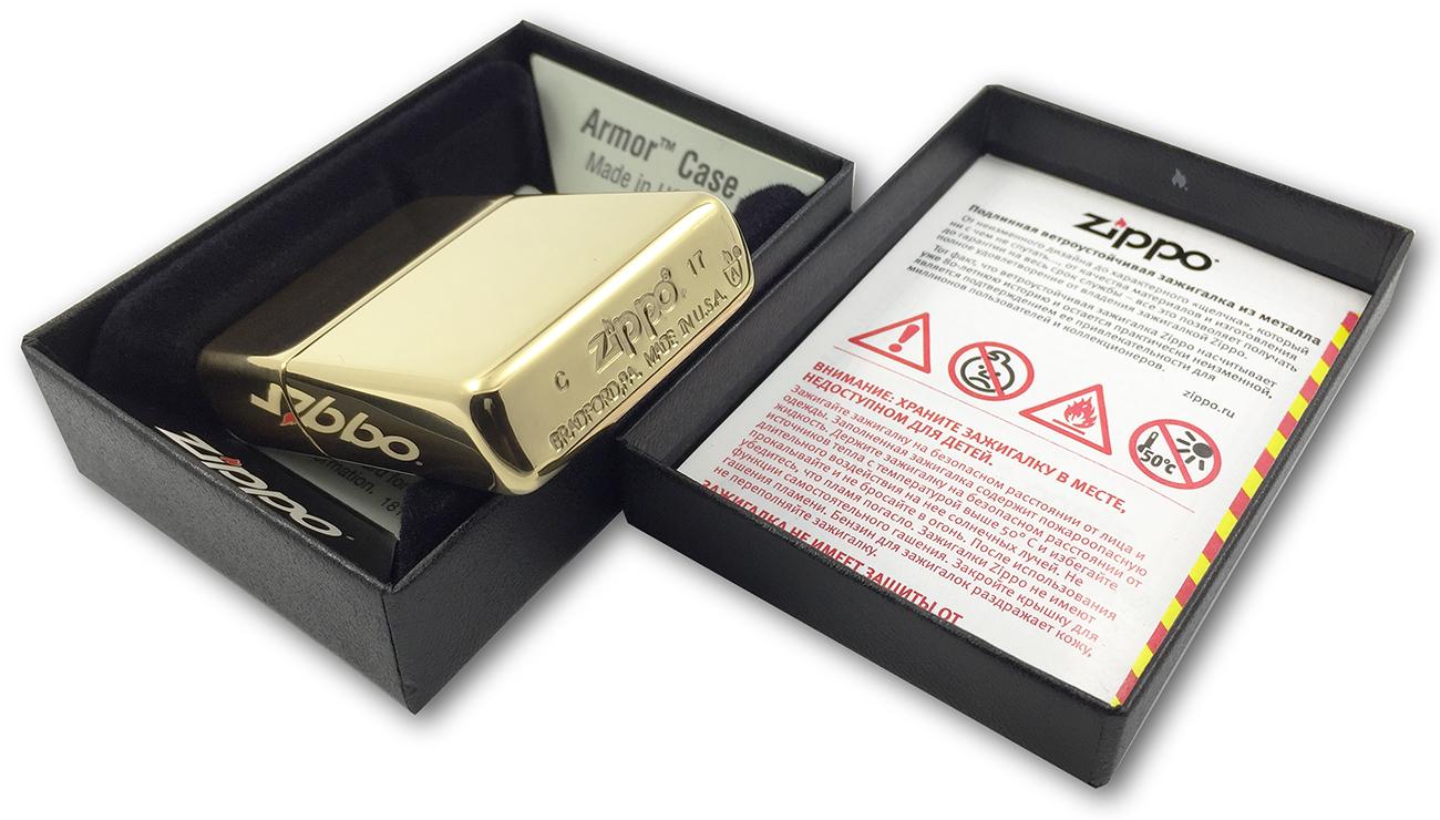 169 Зажигалка Zippo Armor, Polish Brass - заводской штамп на донышке