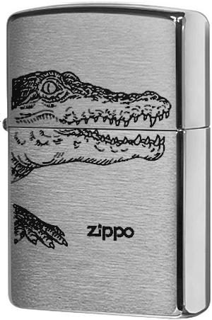 200 Alligator Зажигалка Zippo, Brushed Chrome