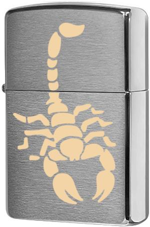 200 Зажигалка Zippo Scorpion Brass, Brushed Chrome