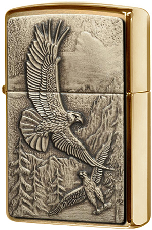 20854 Зажигалка Zippo Where Eagles Dare Emblem, Brushed Brass