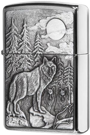 20855 Зажигалка Zippo Timberwolves Emblem, Brushed Chrome