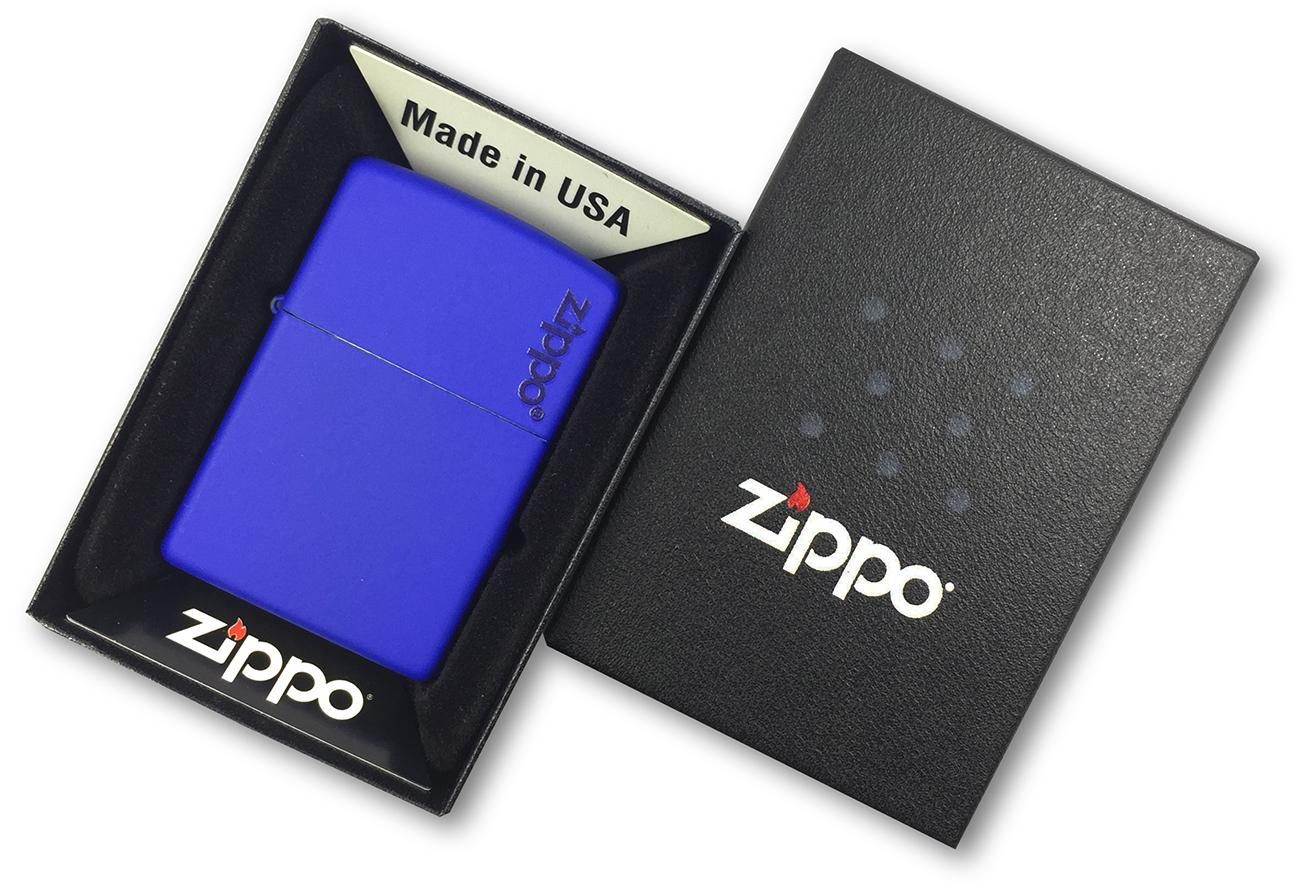 229ZL Зажигалка Zippo Logo, Royal Blue Matte в фирменной подарочной упаковке