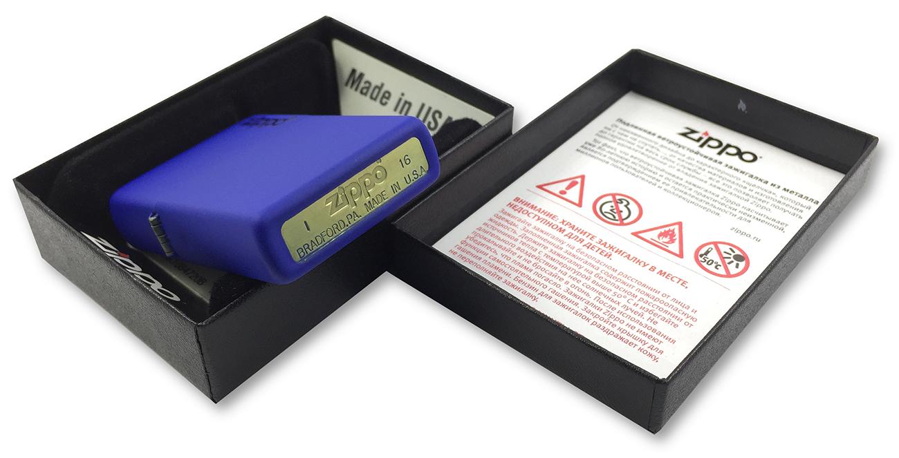 229ZL Зажигалка Zippo Logo, Royal Blue Matte - заводской штамп на донышке