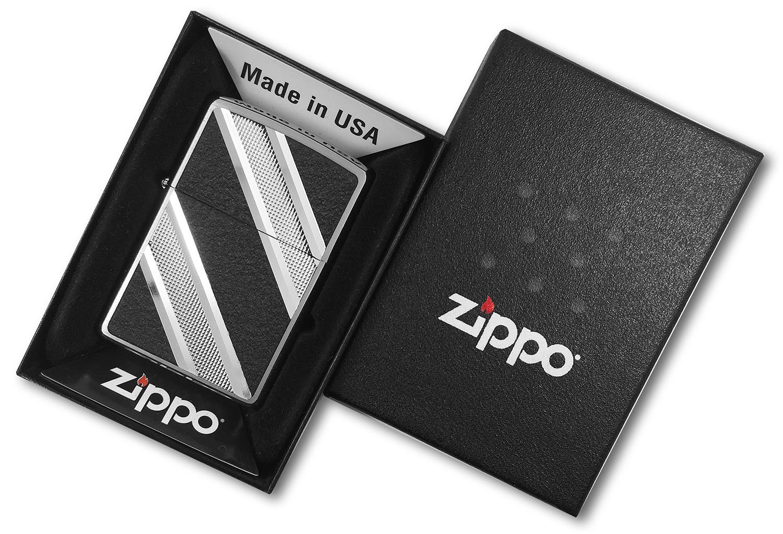 24872 Зажигалка Zippo Double Diagonal Diamond Emblem, Brushed Chrome в открытой коробке