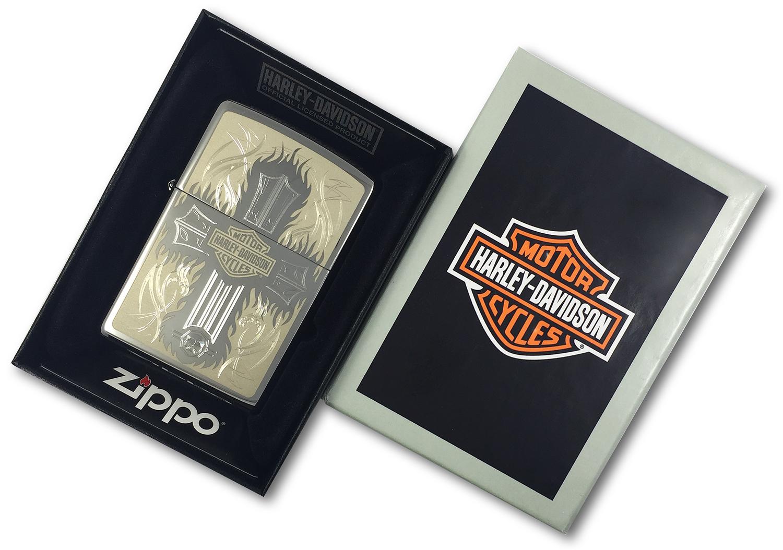 250 Зажигалка Zippo Cross Harley-Davidson, Polish Chrome в открытой коробке