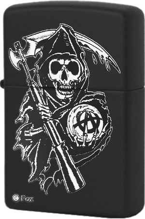 28504 Зажигалка Zippo Sons of Anarchy Grim Reaper, Black Matte