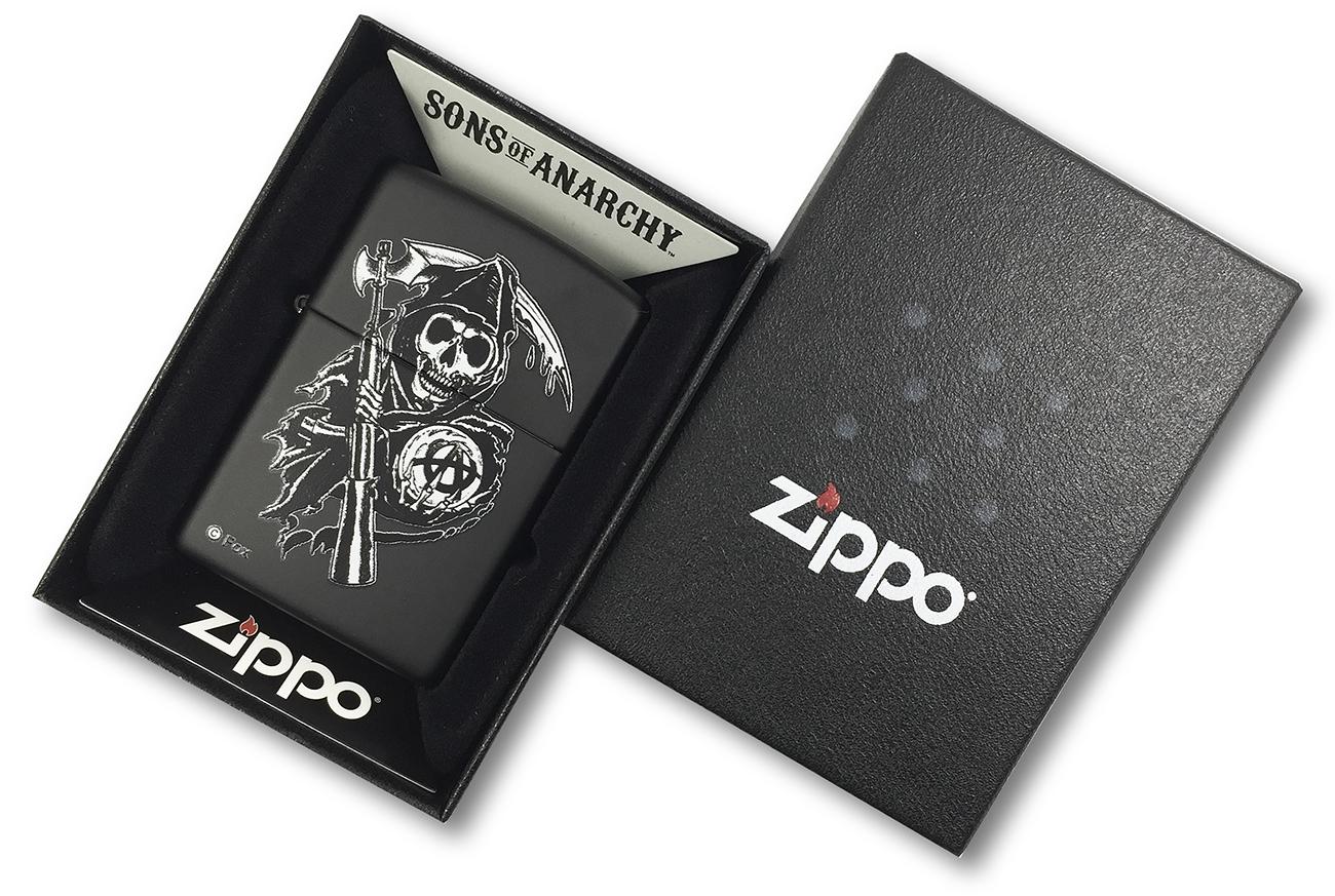 28504 Зажигалка Zippo Sons of Anarchy Grim Reaper, Black Matte в фирменной подарочной упаковке