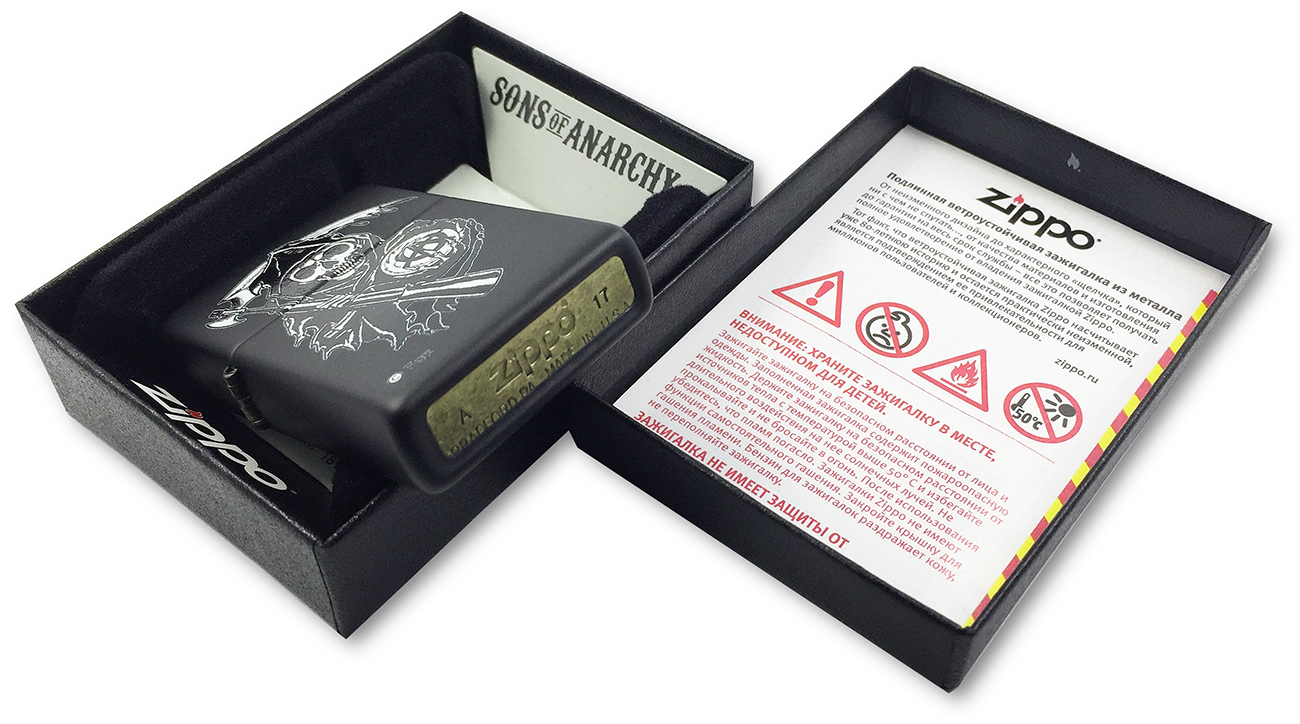 28504 Зажигалка Zippo Sons of Anarchy Grim Reaper, Black Matte - заводской штамп на донышке