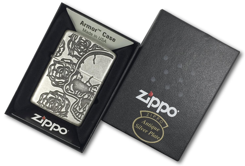 28988 Зажигалка Zippo Armor Skull Roses, Antique Silver Plate в открытой коробке
