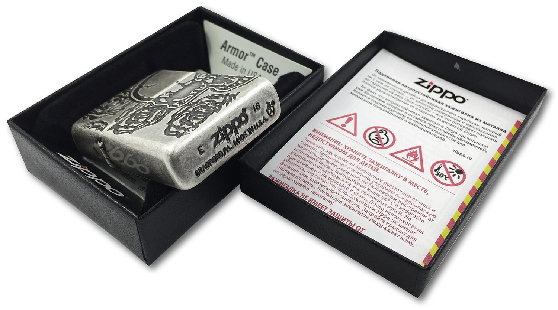 28988 Зажигалка Zippo Armor Skull Roses, Antique Silver Plate штамп на донышке