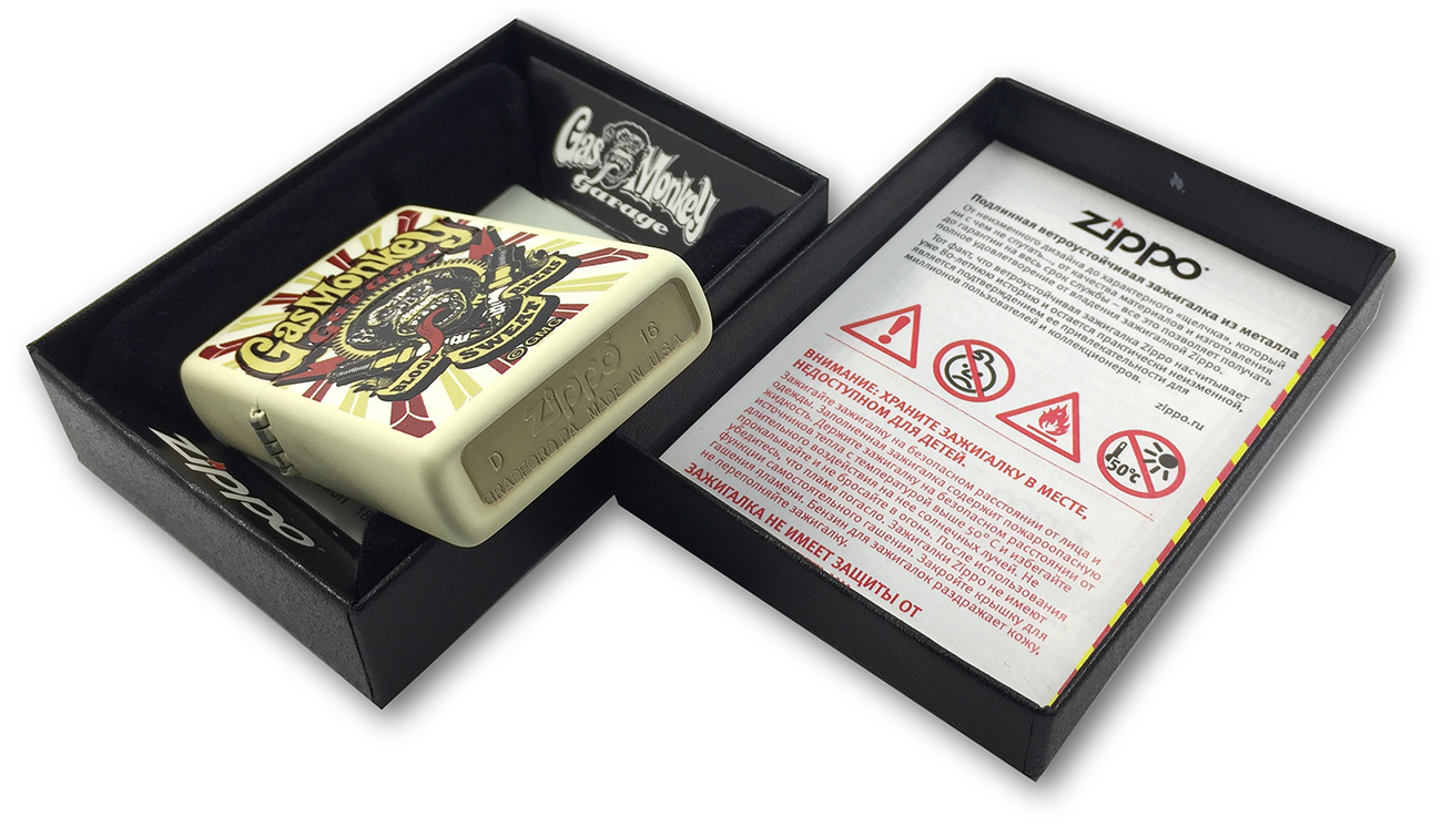 29057 Зажигалка Zippo Gas Monkey Garage, Cream Matte заводской штамп на донышке