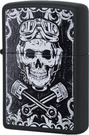 29088 Зажигалка Zippo Skull Pistons, Black Matte