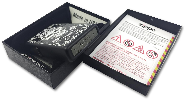 29088 Зажигалка Zippo Skull Pistons, Black Matte штамп на донышке зажигалки зиппо