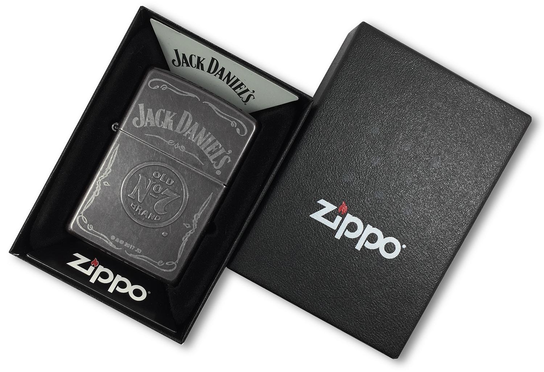 29150 Зажигалка Zippo Jack Daniels Label Stamp, Gray Dusk в открытой коробке