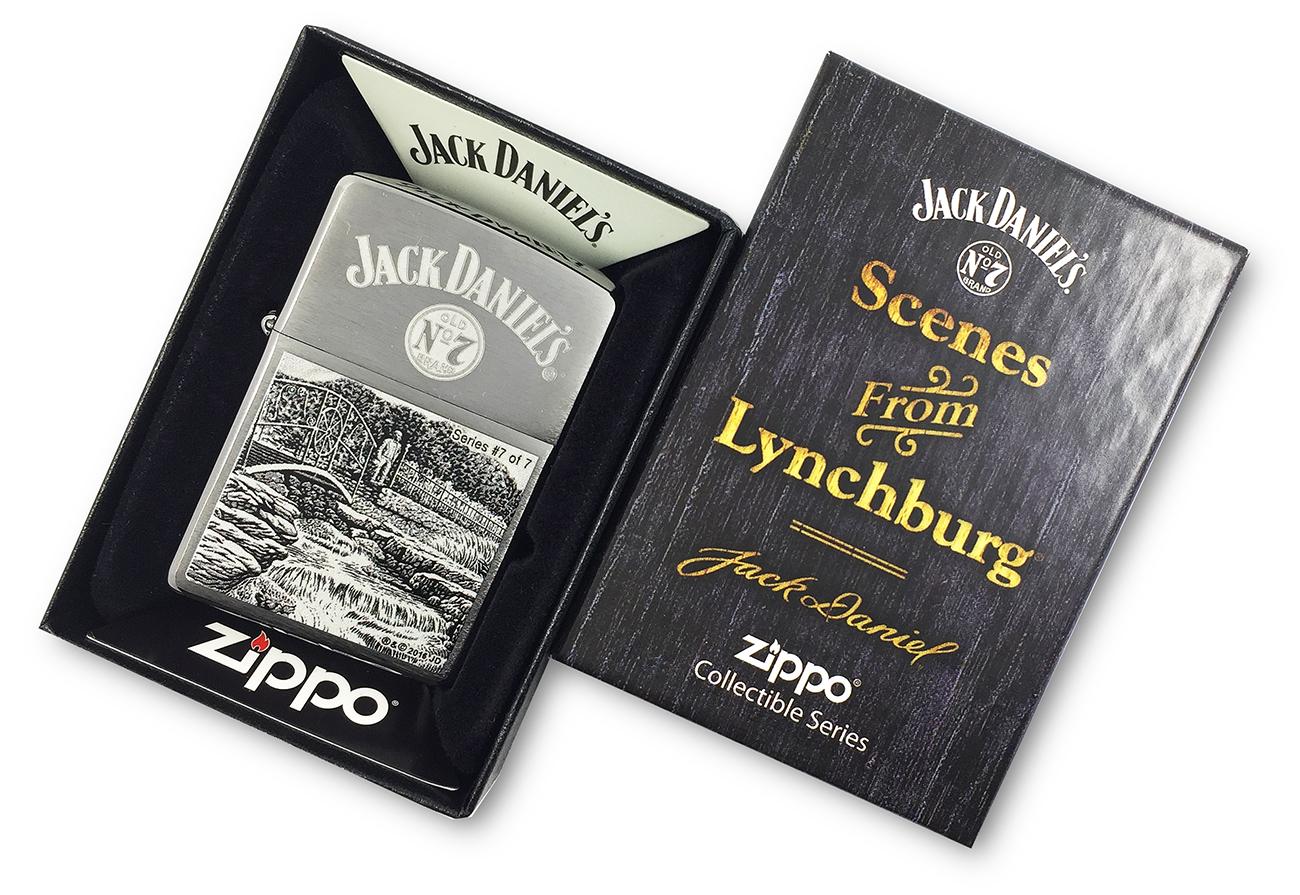 29179 Зажигалка Zippo Jack Daniels Scene Series 7, Brush Chrome в фирменной специальной подарочной коробке