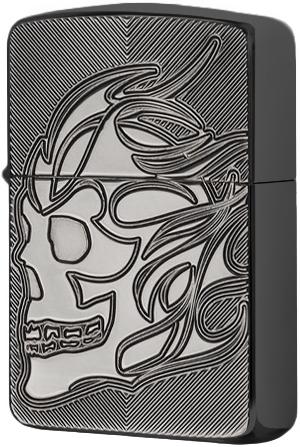 29230 Зажигалка Zippo Skull Deep Carved, Black Ice
