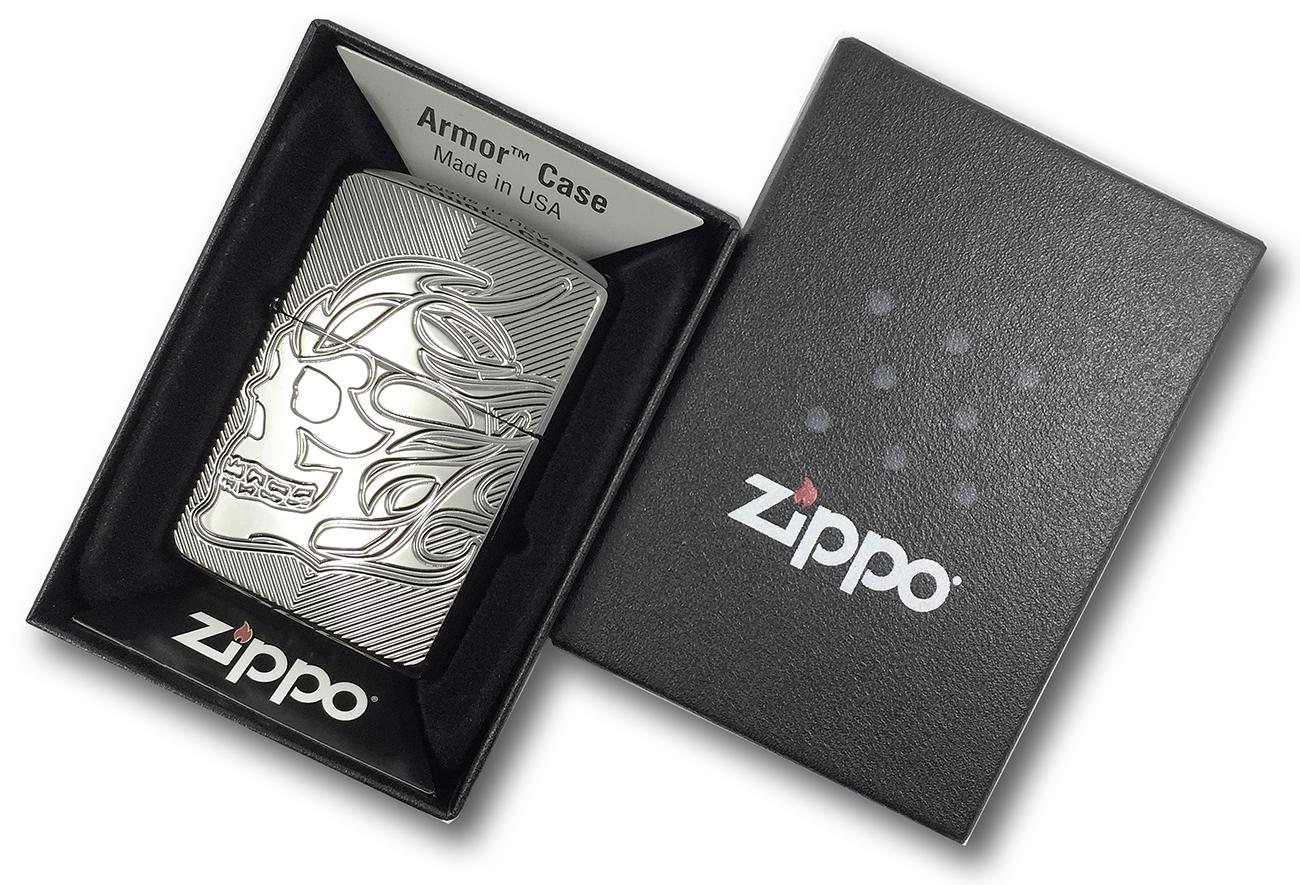29230 Зажигалка Zippo Skull Deep Carved, Armor Black Ice в фирменной подарочной упаковке