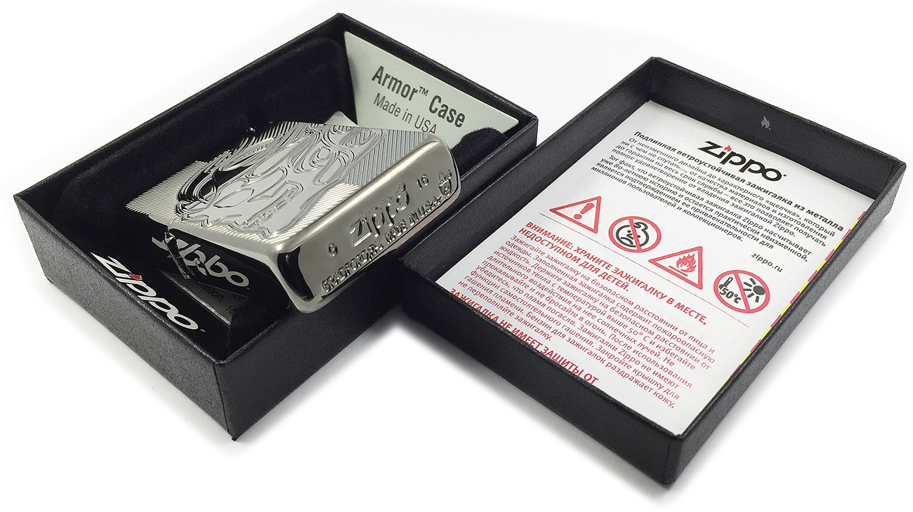 29230 Зажигалка Zippo Skull Deep Carved, Armor Black Ice - заводской штамп на донышке