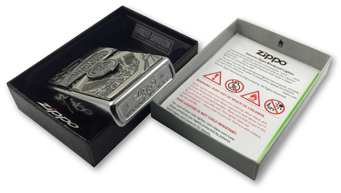 29266 Зажигалка Zippo HD Motor Flag Emblem, Street Chrome заводской штамп на донышке
