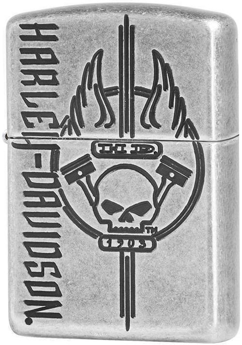 29280 Зажигалка Zippo Harley Davidson Armor, Antique Silver Plate