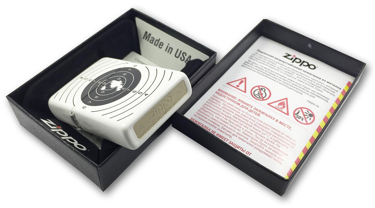 29390 Зажигалка Zippo Target With Holes, White Matte заводской штамп на донышке зажигалки