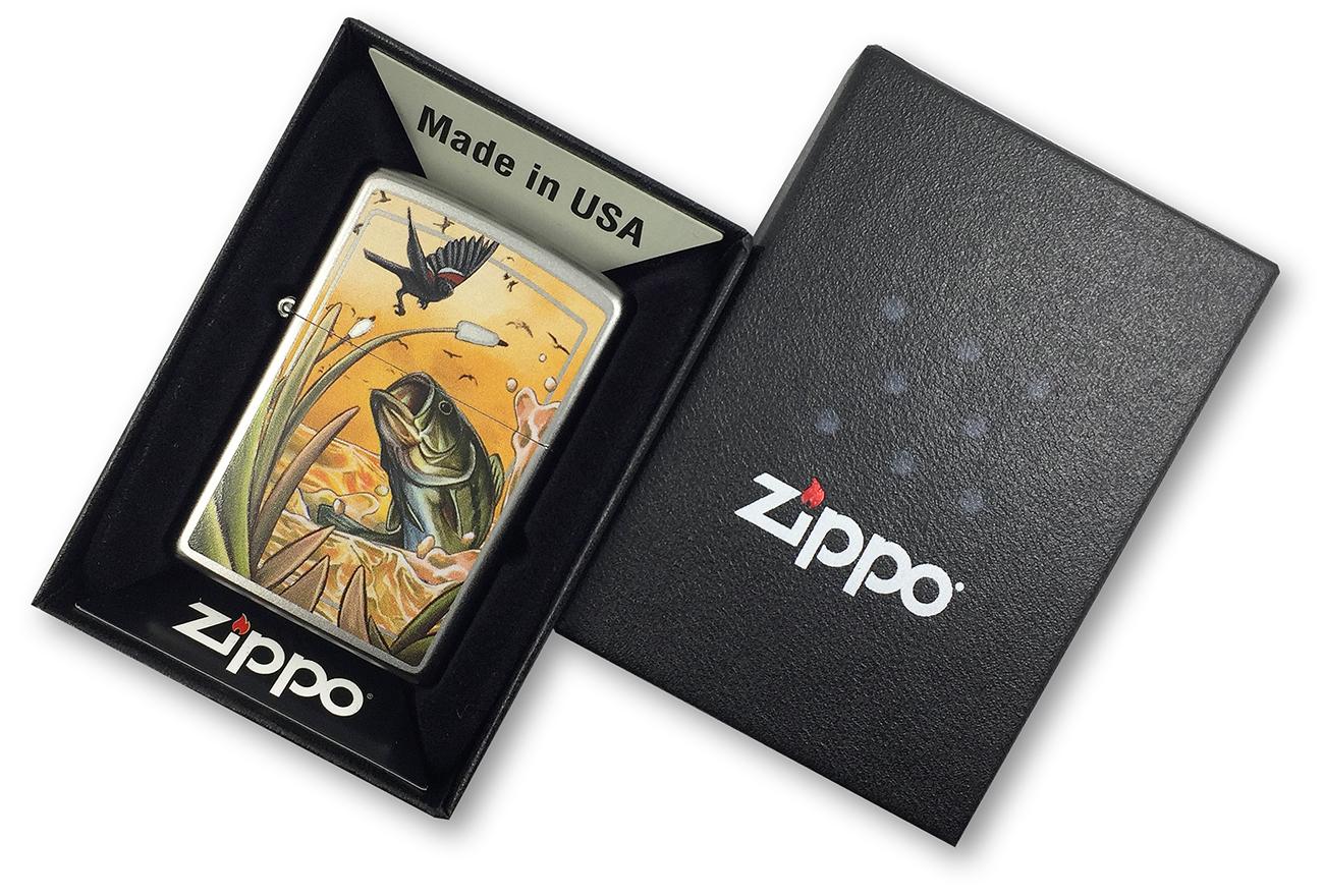 29391 Зажигалка Zippo Base Bird and Fish, Satin Chrome в фирменной подарочной коробке