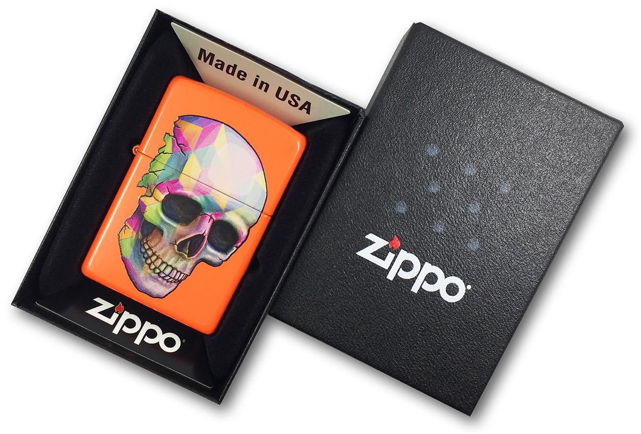 29402 Зажигалка Zippo Skull, Neon Orange в фирменной подарочной упаковке