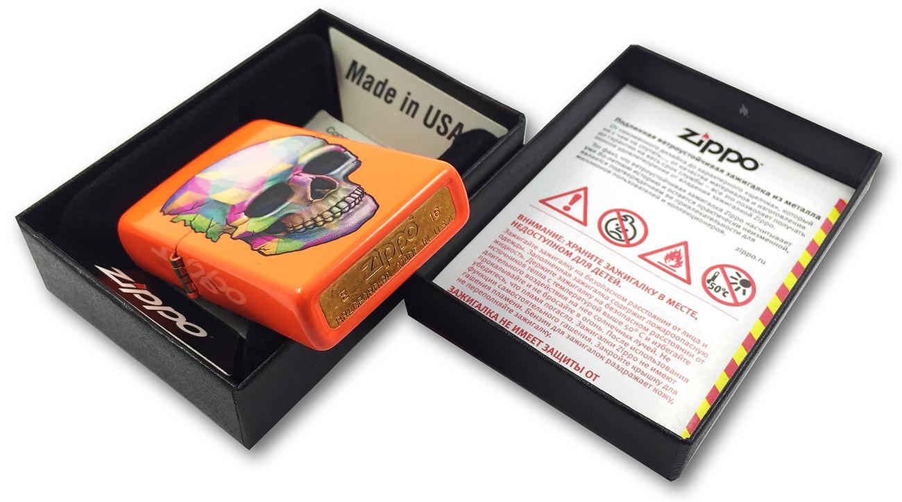 29402 Зажигалка Zippo Skull, Neon Orange - штамп на донышке