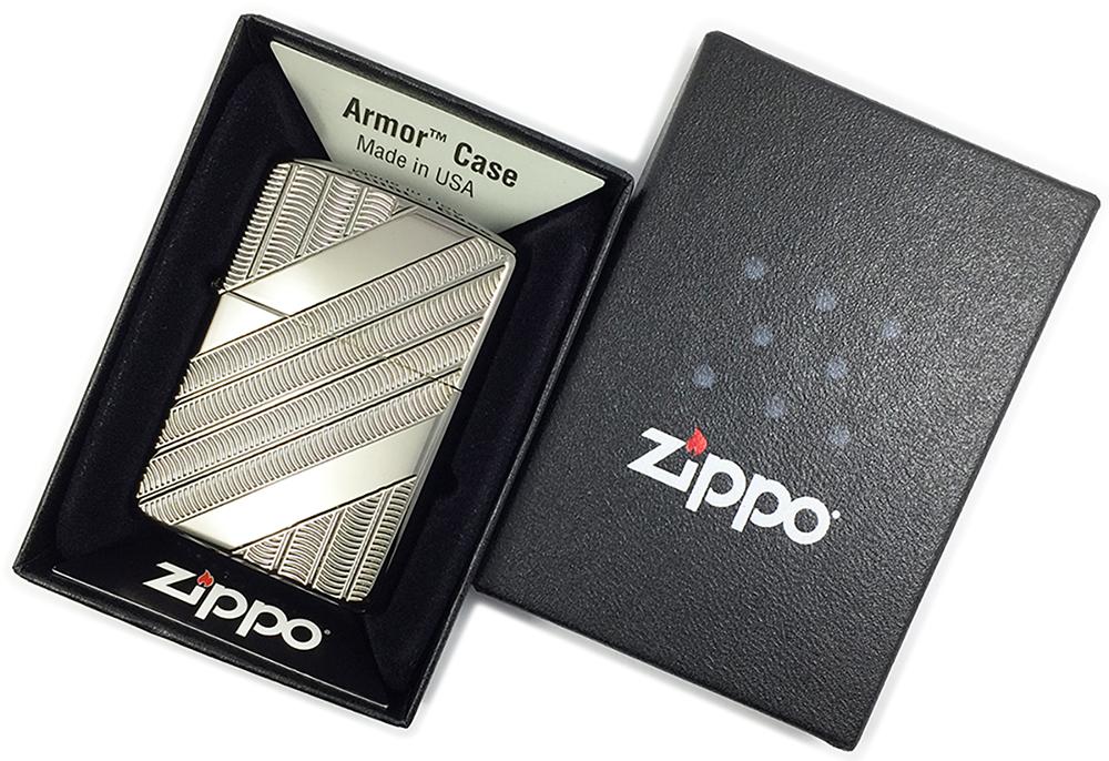 29422 Зажигалка Zippo Coils Deep Carved, Armor Black Ice в фирменной подарочной коробке