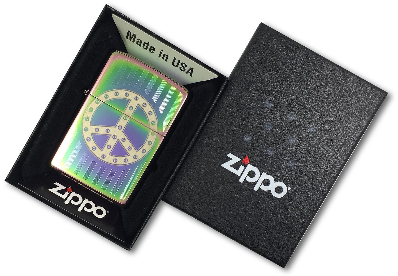 29435 Зажигалка Zippo Rivit Peace Sign, Spectrum в открытой коробке