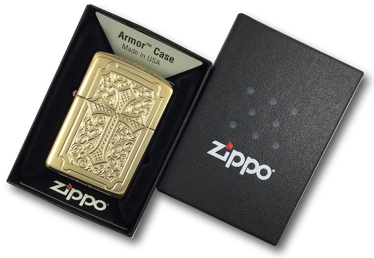 29436 Зажигалка Zippo Eccentric Cross Deep Carved, Armor Polish Brass в фирменной подарочной упаковке
