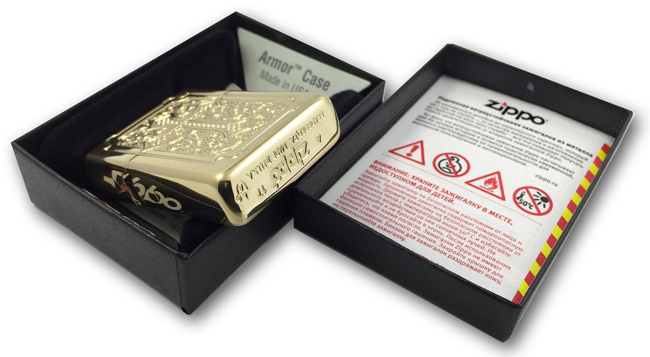 29436 Зажигалка Zippo Eccentric Cross Deep Carved, Armor Polish Brass - заводской штамп на донышке