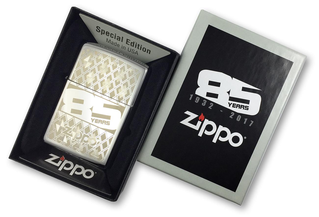 29438 Зажигалка Zippo 85TH Anniversary Every, Polish Chrome двойная заводская гравировка, лазерная и мехническая