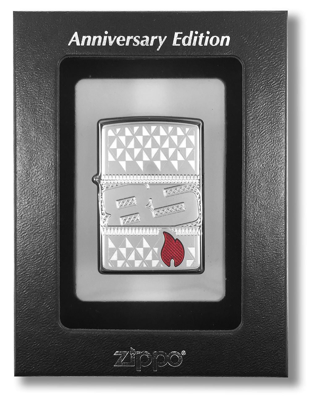 29442 Зажигалка Zippo 85th Anniversary Collectible, Armor Polish Chrome в индивидуальной коллекционной упаковке с прозрачным ложементом