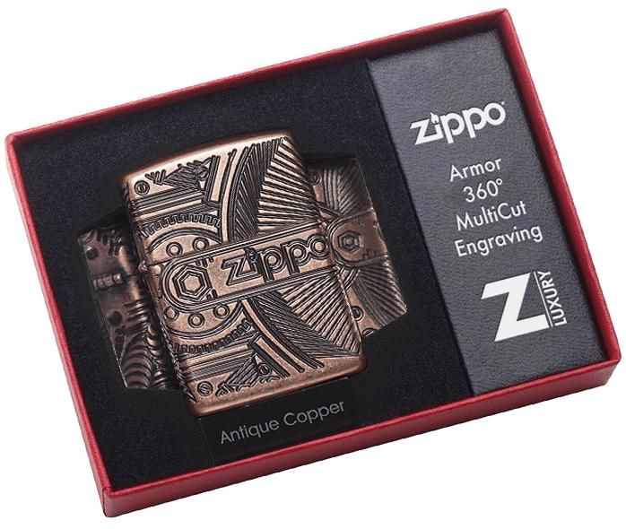 29523 Зажигалка Zippo Gears Armor, Antique Copper