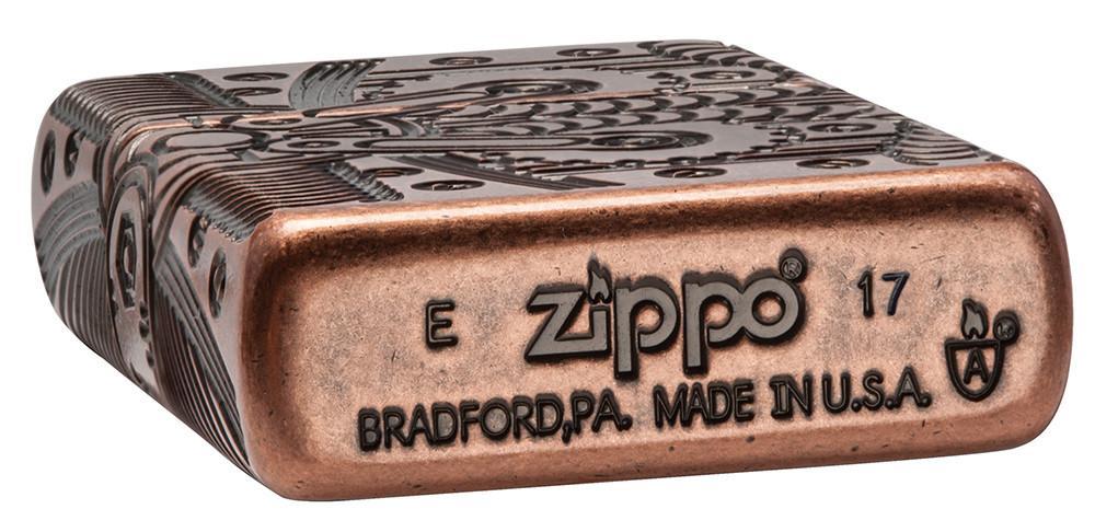 29523 Зажигалка Zippo Gears Armor, Antique Copper штамп на донышке