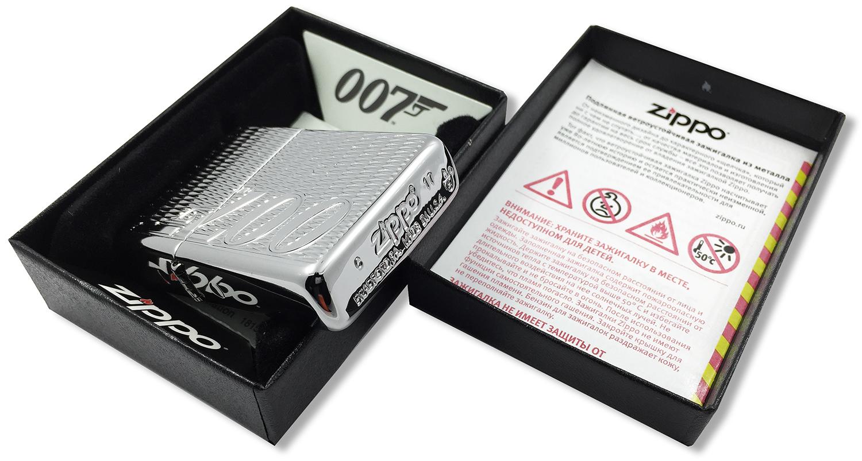 29550 Зажигалка Zippo James Bond 007 Armor Carved штамп на донышке
