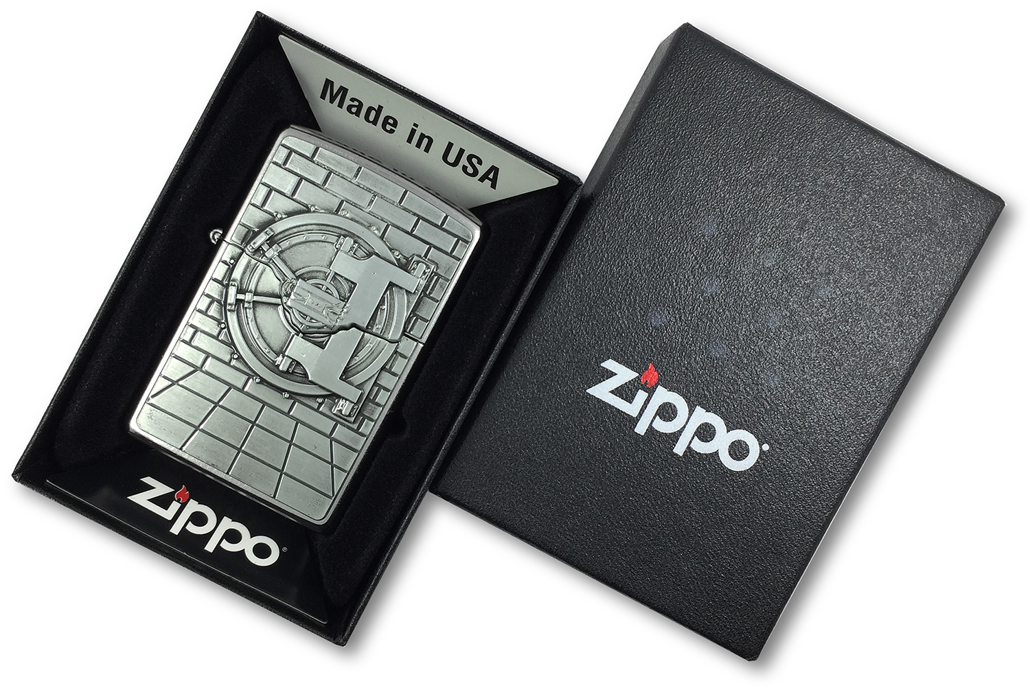 29555 Зажигалка Zippo Safe with Gold Cash Surprise Emblem, Street Chrome в открытой коробке