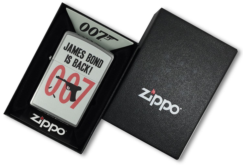29563 Зажигалка Zippo James Bond 007, Brushed Chrome в открытой коробке