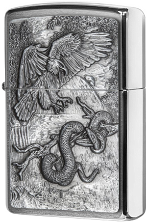 29637 Зажигалка Zippo Eagle vs Snake Emblem, Brushed Chrome