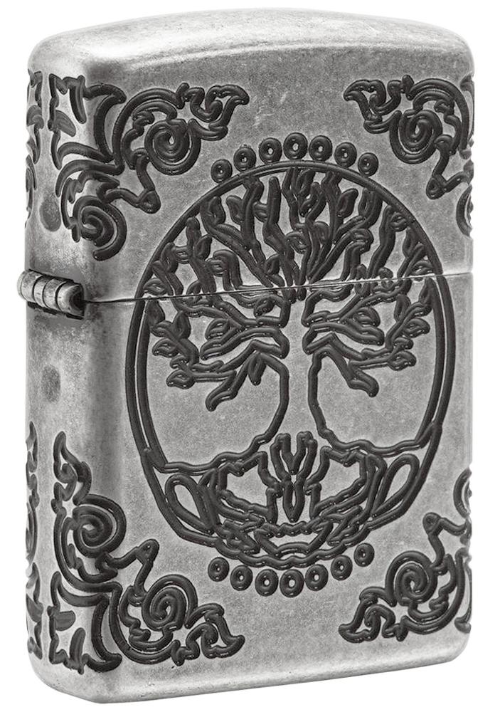 29670 Зажигалка Zippo Armor Tree of Life, Antique Silver - лицевая сторона