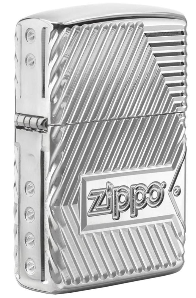 29672 Зажигалка Zippo Armor Bolts Design, Polish Chrome - лицевая сторона