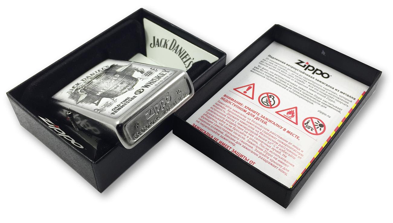 207 Зажигалка Zippo Jack Daniels Tennessee Whiskey, Street Chrome заводской штамп на донышке