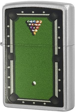 205 Зажигалка Zippo Pool Table, Satin Chrome