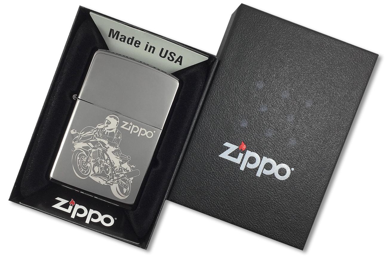150 Moto Зажигалка Zippo, Black Ice - в подарочной упаковке